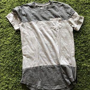 Long shirt two tone grey zipper side
